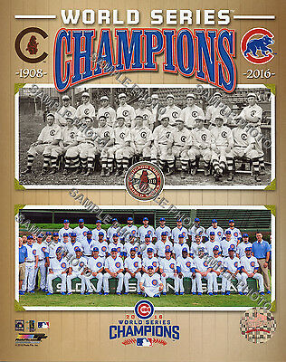Chicago Cubs 1908 & 2016 World Series Champions Official Composite 8x10 Photo