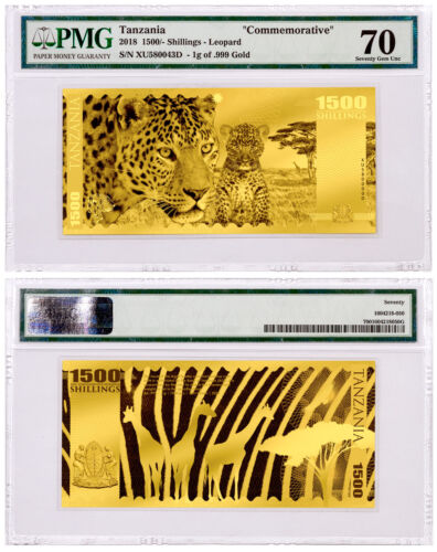 2018 Tanzania Big 5 -Leopard Foil Note Gold Sh1,500 Coin PMG Gem Unc 70 SKU51825