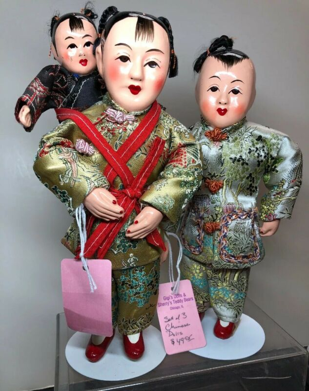 "8.5"" Vintage Chinese Mother W/ Little Baby On Back & Father Set Of 3 Family #SF"
