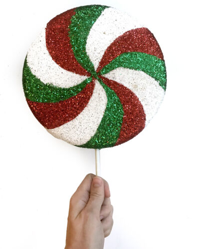 BIG Red White Green Peppermint Lollipop Christmas Ornament Photo Prop Large
