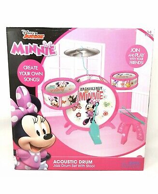 Disney Minnie Mouse Junior Acoustic Jazz Drum Set with Stool, Free Shipping