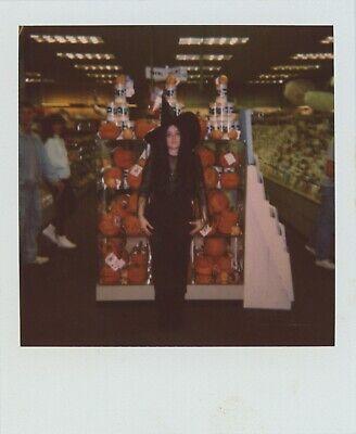 POLAROID FOUND PHOTO SEXY BLACK MAGIC WOMAN WITCH HALLOWEEN COSTUME PUMPKIN 5E