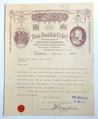 Tom Smith & Co. Ltd Christmas Crackers London 1929 letterhead to India ()