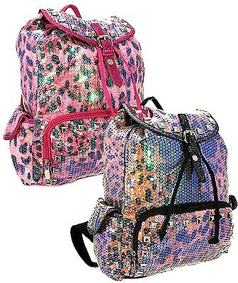Leopard Fashion Tasche (New Sequined Leopard Sparkle Dancing Bag Backpack Fashion Bag with Studs Accent)