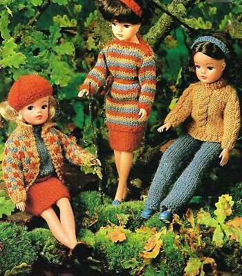 Sindy Barbie Knitting Pattern Dolls Clothes Cardigan, Cable Jumper, Tunic, 4 ply