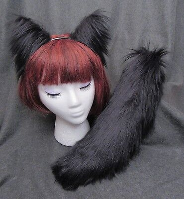 Gray Cat Ears And Tail (GRAY or BLACK Fox Wolf Cat EARS and TAIL SET- 4 CHOICES, Realistic Faux)