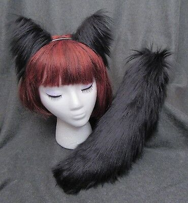 Black Fox Wolf Cat Ears, Tail, or Set, Long Lux Faux Fur, Cosplay