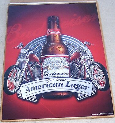 """2 NEW Posters BUDWEISER BEER 2 MOTORCYCLE 's Pub Sign Chopper Poster   19"""" x 27"""""""