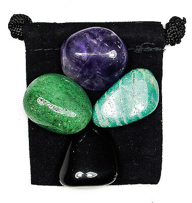 GEOPATHIC STRESS Tumbled Crystal Healing Set = 4 Stones +Pouch +Description Card