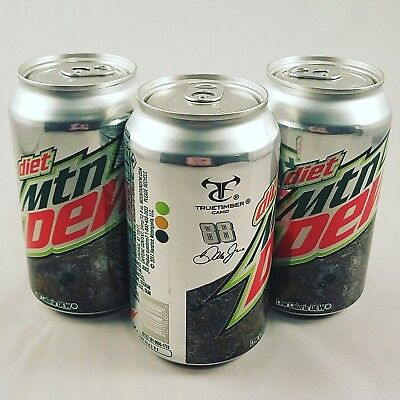 Set of 3 Diet Mountain Dew Truetimber Camo Dale Jr. 88 Cans - 12 oz each - Full