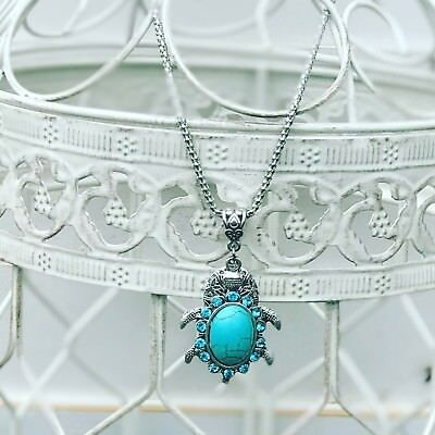 TURQUOISE BLING TURTLE ESSENTIAL OIL DIFFUSER NECKLACE 18