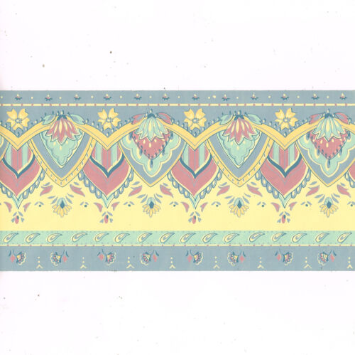 Floral Flower Paisley Yellow Slate Blue Gray Wallpaper Border