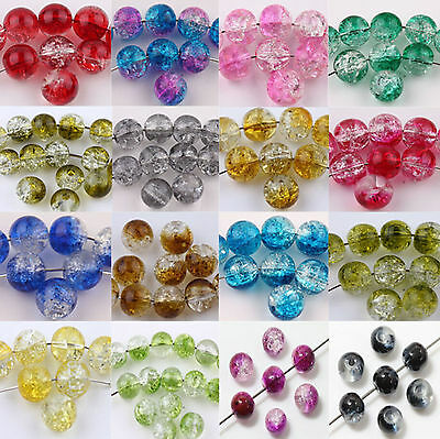 Czech Glass Round Crackle Loose Spacer Charms Beads Jewelry Making 6Mm 8Mm 10Mm
