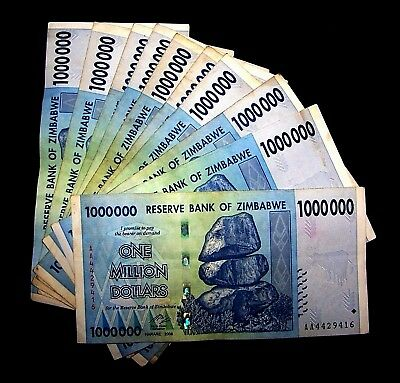 Million Dollar Currency (10 x Zimbabwe 1 Million Dollar)