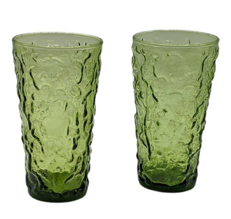 "Pair of Anchor Hocking Lido Milano Avocado Green Crinkle 5.5"" Glasses Vintage"