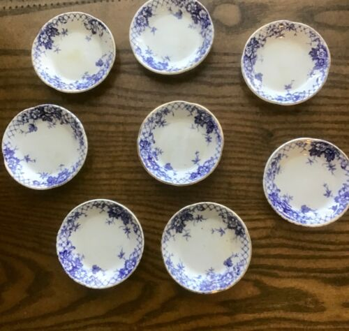 Set of 8 Antique Butter Pats Blue and White Transferware ..Rare Find!