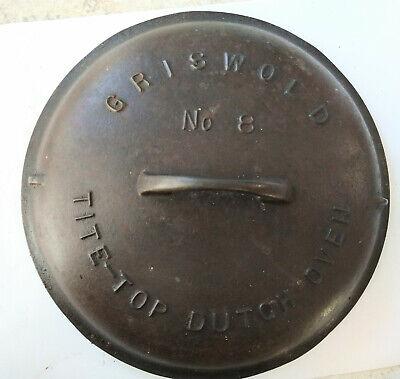 Vintage Griswold # 8 Cast Iron Tite Top Dutch Oven 2551B Erie Lid