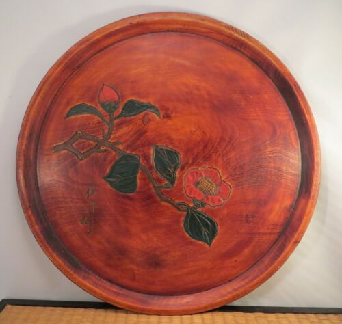 Vintage Japanese Kamakura Carved Wooden Lacquer Plate Tray Camellia Flower Japan