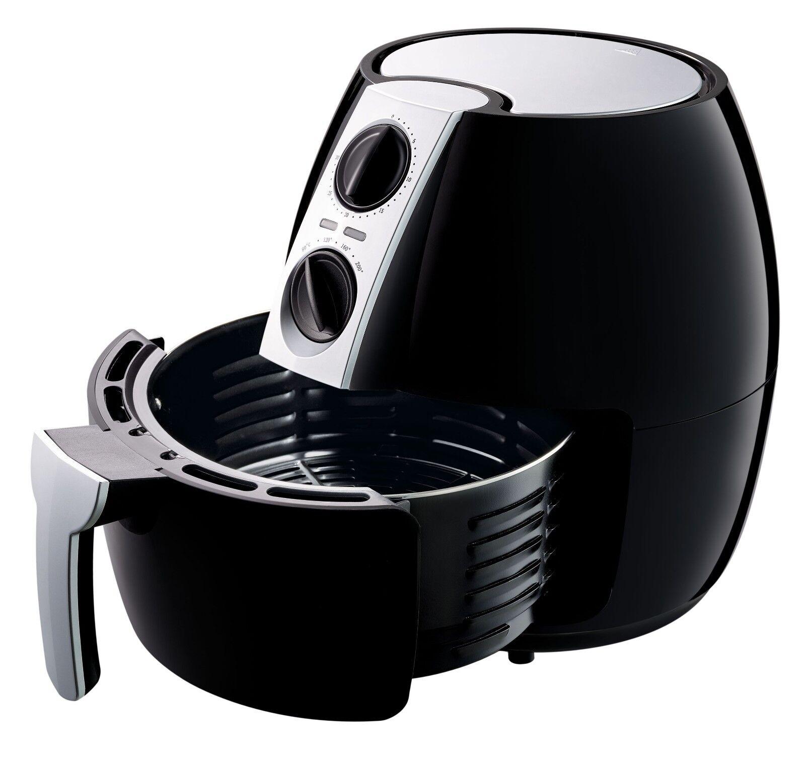 ito XXL Heißluft-Fritteuse 4,5 Liter 1500W Timer & Temperaturregler Schwarz