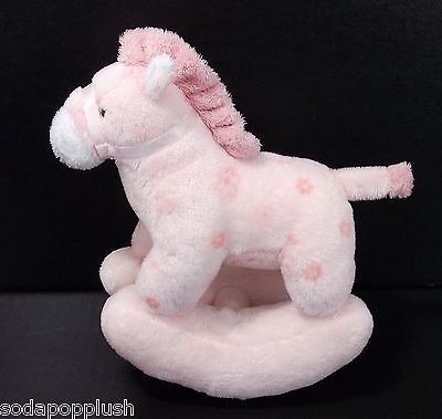 "TY Baby Pretty Pony Pink Rocking Horse 2005 Plush Stuffed Animal Lovey Toy 8"""