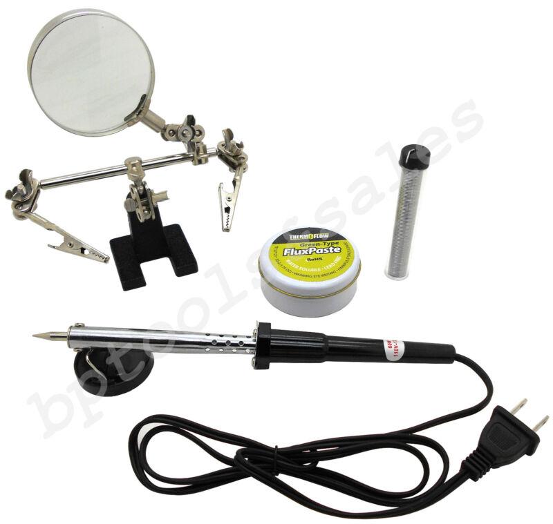 60W Soldering Iron 20G Solder Flux Paste & Helping Hand Soldering Tool Kit NEW