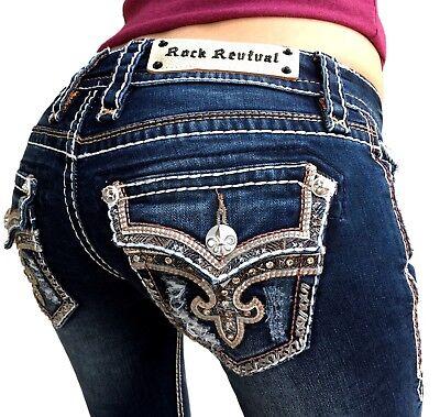 Low Rise Bootcut Womens Jeans - Womens Rock Revival Jeans Low Rise Tibbie Rhinestone Bootcut Stretch Dark $174