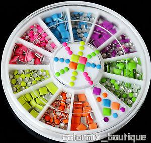 Neon-Color-Remache-Nail-Art-Decoracion-Cuadrada-Redonda-pernos-de-Metal-joyas-rhinestone