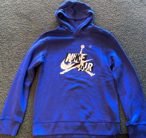 NWT Nike Air Jordan Boys YXL Blue/White/Black BIG LOGO Hoodie Sweatshirt XL