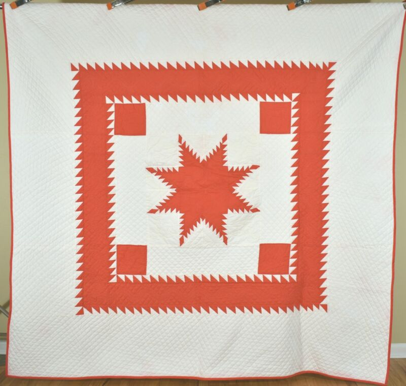 Large Vintage Red & White Feathered Stars Quilt Sawtooth Borders~Signed & Dated!