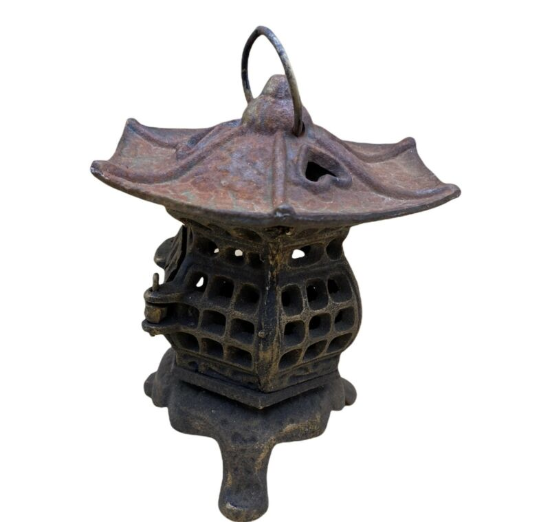 "Vintage 7"" Cast Iron Metal Japan Pagoda Garden Hanging Candle Light Lantern"