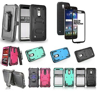 LG Phoenix 3 Belt Clip Holster Combo With Built in Screen Protector Stand Case Lg Combo