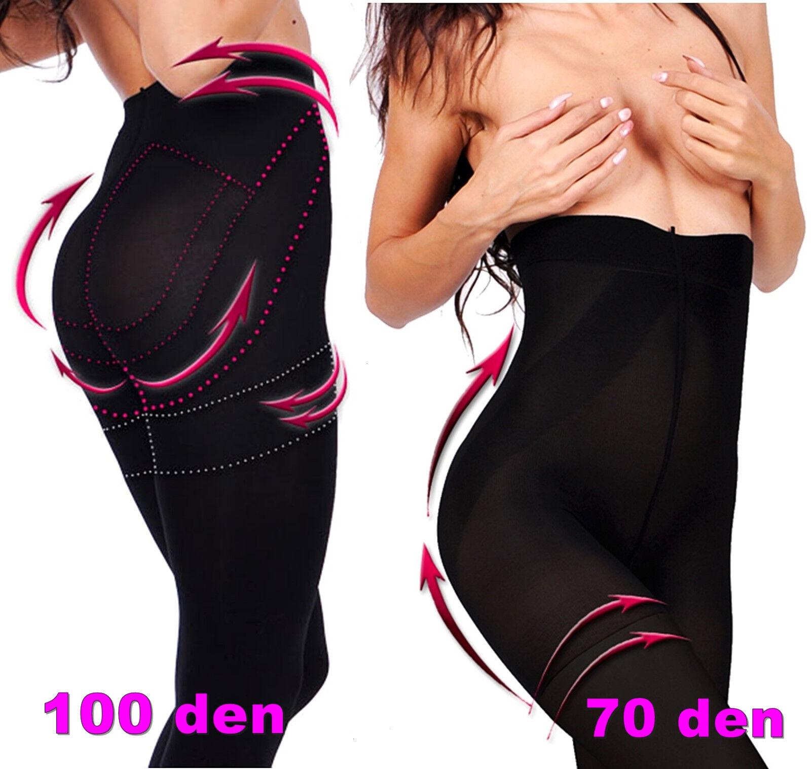 Push UP figurformende Damen Strumpfhose blickdicht 100 den schwarz Bauchweg