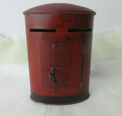 antique,ENGLAND POST OFFICE tin bank,WITH ORIGINAL KEY,Very Nice Condition*  MMH