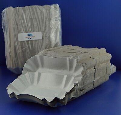 250 x Pappschalen Pommesschale weiß 9 x 14 x 3 cm KU 51 Beschichtung