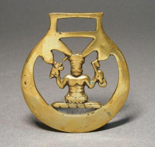 Vintage Horse Brass Medallion Equestrian Ornament - Guru / Swami