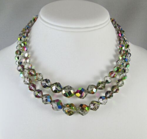 Vintage Double Strand Graduated Peacock AB Crystal Glass Beads Necklace