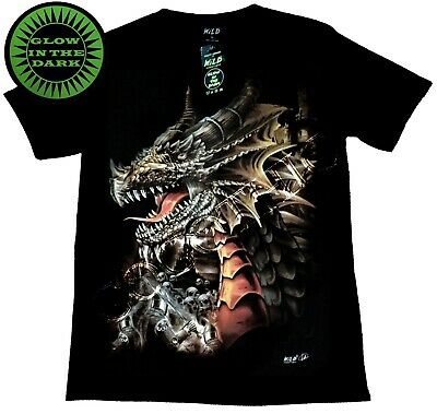Wild Glow In The Dark Black T shirt Cotton Chinese Dragon Gothic Skull Sword ()
