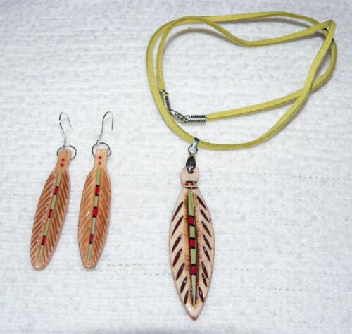 """CARVED PAINTED BISON BONE FEATHER EARRINGS & NECKLACE-.925 sterling-1 3/4"""""""