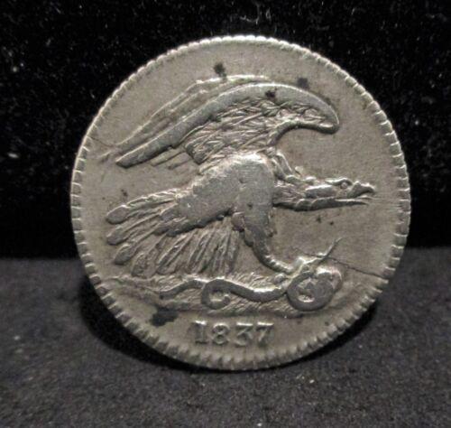 1837 Feuchtwangers Cent - Cracked Planchet           ENN COINS