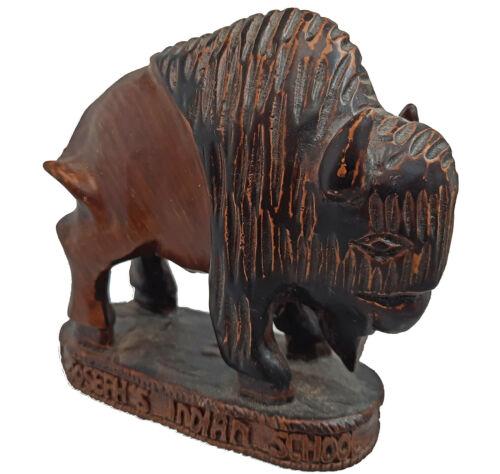 "Vintage  BUFFALO BISON on ""STAND""  Wood Resin Figure Souvenier"