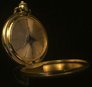 Masonic Pocket Watch Gold with Square and Compass Face with Chain Freemason
