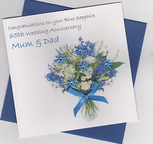 Personalised Handmade 45th/65th Sapphire/Blue Sapphire Wedding Anniversary Card