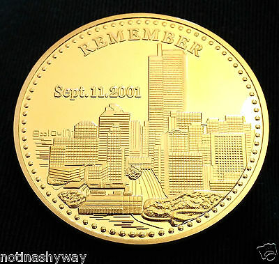 9/11 Coin Gold Twin Towers Man New York City United States Statue of Liberty USA