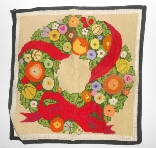 Vintage Completed Needlework - CHRISTMAS WREATH