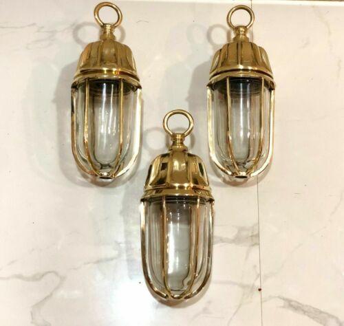 Nautical American Passage Way Bulkhead Hanging Brass New Light 3 Piece