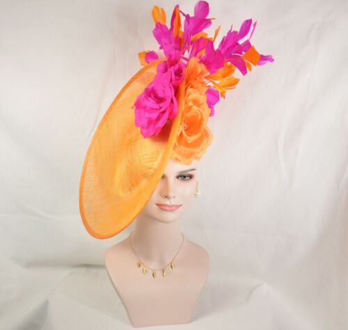 2020 Sinamay Disc Fascinator Hat with Jumbo Silk and Feather Flowers