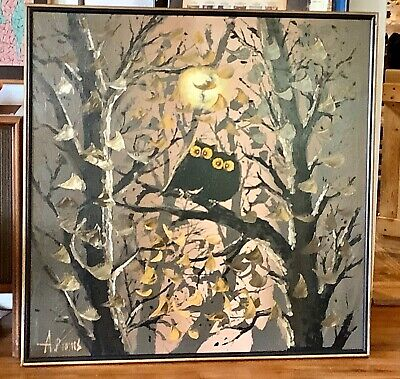 Large Signed A. Burms Painting owls Canvas Vtg Retro Mid Centurey Modern frame