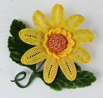 lemon yellow color satin flower brooch Handmade Yellow golden embroidered flower blue Flower brooch red Choose your color Flower pin