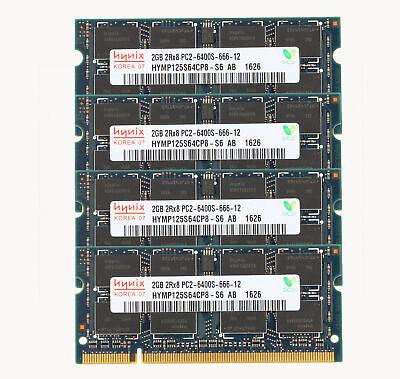Hynix 8GB 4x 2GB DDR2 800MHz PC2-6400S 200PIN SODIMM Laptop RAM Memory...