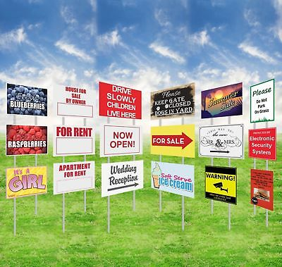 Custom Print Yard Sign Outdoor Garden Decor Double Sided Lawn Signmetal Stakes